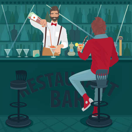 Young trendy guy sits at the bar counter and drinking cocktail. Funny hipster bartender with a bow tie prepares another drink. The rest after the working day concept Illustration