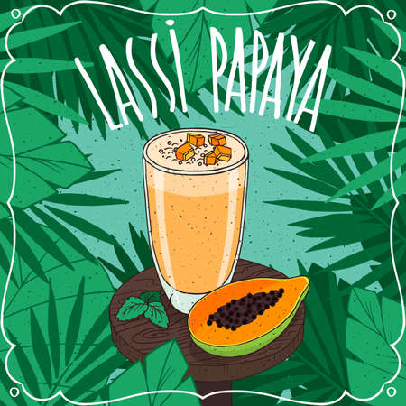 Papaya Lassi, Indian drink with fresh juice, on wooden table with slice of ripe fruit. Natural background. Realistic hand draw style. Lettering Lassi Papaya Illustration