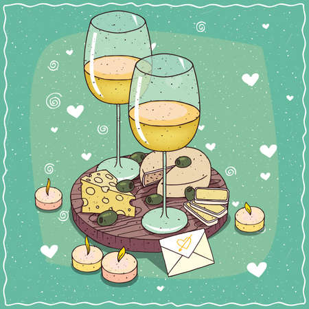 Romantic composition on wooden board, glasses of wine or cider, olives and cheese plate with mildew, with holes. Next candles and envelope. Hand drawn comic style