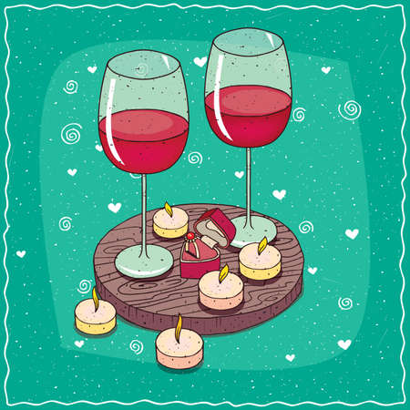 Romantic composition on wooden board, large glasses of red wine and engagement ring in box in the shape of heart. Near the candles. Hand drawn comic style