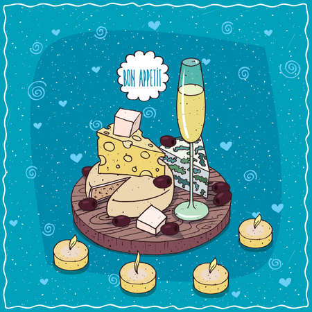 Romantic composition on wooden board, glass of champagne or cider, black olives and cheese with mildew, with holes and round cheese on plate.