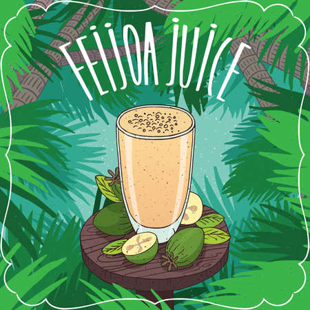 Fresh pineapple guava juice in glass on wooden table with ripe fruits, whole and slices. Tropical background. Realistic hand draw style. Lettering Feijoa Juice Illustration