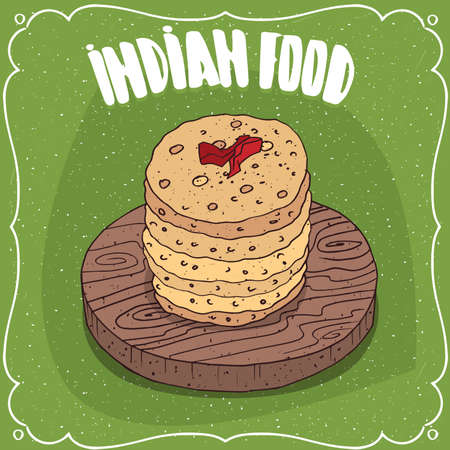 Traditional food, dish of Indian cuisine, pile of round flatbread like Roti, Naan, Chapati, Papadum or Paratha, on wooden plate with chilli. Hand drawn comic style Illustration