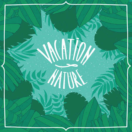 beautifully: Nice square card with blue green colors, with palm leaves in the background.