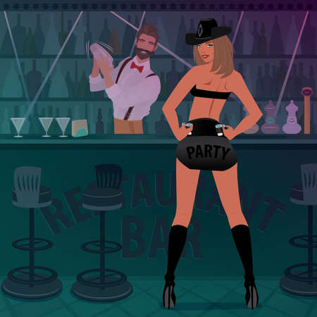 Attractive woman in sexy outfit and cowboy hat with shots on her belt, waits for visitors. Fashionable bartender prepares cocktail.