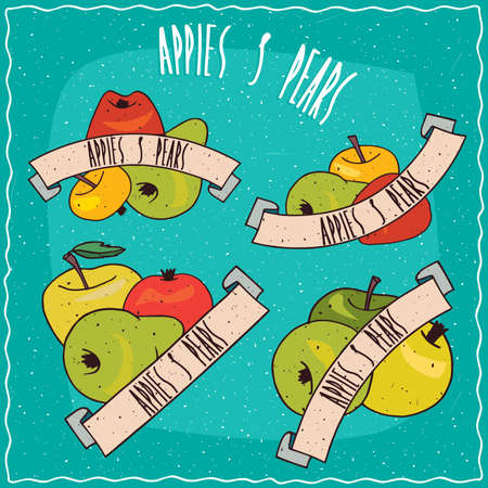 Set of colorful clip art groups of fruits, such as apples and pears of different sizes, shapes and colors, with ribbons and lettering.