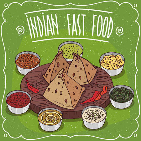 Traditional fast food of Indian cuisine, snack known as Samosa and chilli pepper on wooden plate with different colorful sauces like chutney. Illustration