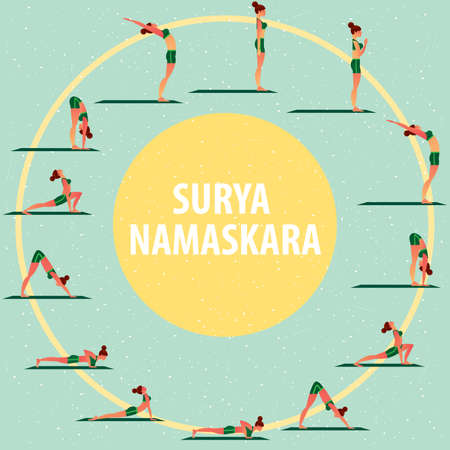 Set of images of sports girl in different yoga poses, performing complex of exercises, known as Greeting to the Sun or Surya Namaskara.