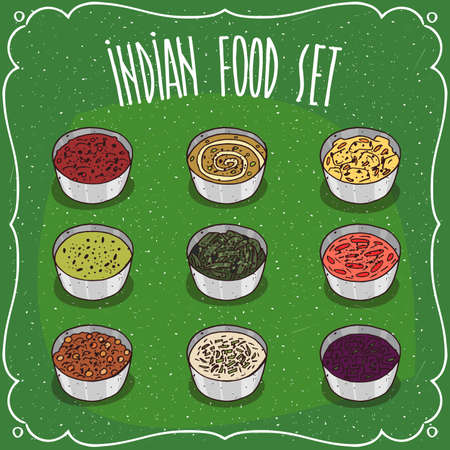 chutney: Set of different colorful seasoning sauces like chutney, traditional food of Indian cuisine, part of dish Thali. Hand drawn comic style