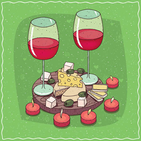 Romantic composition on wooden board, glasses of red wine, olives and cheese plate with mildew, with holes and round cheese. Around the candles. Hand drawn comic style Illustration