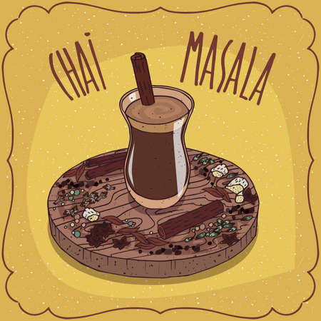 Traditional food of Indian cuisine, Masala chai like mixed spice tea, with mixture of aromatic Indian spices and herbs, on wooden plate. Hand drawn comic style