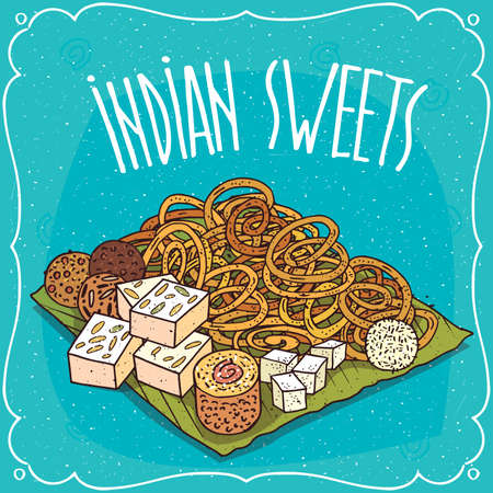 Traditional food, popular sweets of Indian cuisine, pretzels Jalebi or Zulbia, balls Laddu or Laddoo and rectangular Barfi or Burfi. Hand drawn comic style