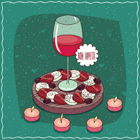 Romantic composition on wooden board, glass of red wine in middle of plate with salad Caprese and black olives. Around the candles. Hand drawn still life in comic style Illustration
