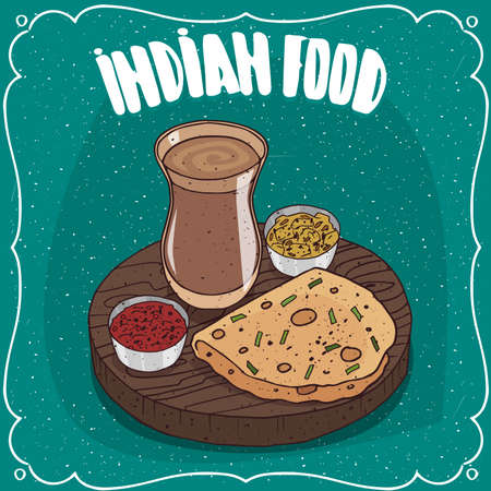 Traditional food, dish of Indian cuisine, round flatbread like Roti, Naan, Chapati, Papadum or Paratha, on wooden plate with sauces like chutney and masala chai tea