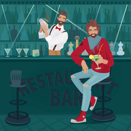 Modern guy in casual clothes sits at the bar counter with a raised cocktail glass. Fashionable bartender stands behind the counter and shakes the cocktail shaker Illustration
