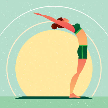 Sporty girl standing in the Upward Tree Pose or Urdhva Vrikshasana, against the background of the sun, in flat cartoon style. Yoga or Pilates concept. Side view Illustration