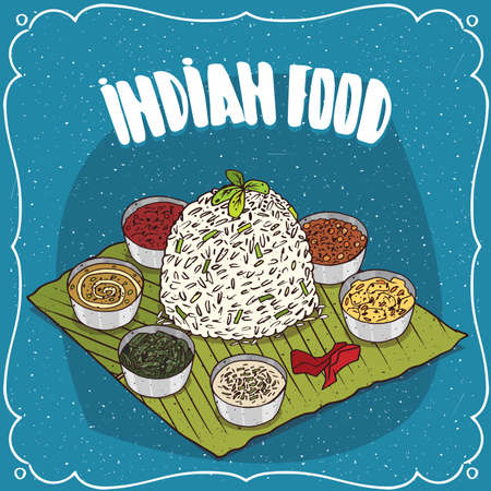 Traditional food, dish of Indian cuisine, known as Thali, serving white rice with seasoning different sauces like chutney, on banana leaf plate. Hand drawn comic style