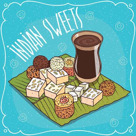 Traditional food, popular sweets of Indian cuisine, balls Laddu or Laddoo and rectangular Barfi or Burfi, on banana leaf and masala chai tea. Hand drawn comic style