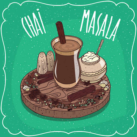 Traditional food of Indian cuisine, Masala chai like mixed spice tea, with sugar bowl and Indian spices and herbs, on wooden plate. Hand drawn comic style Illustration