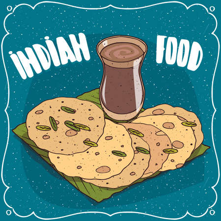 Traditional food, dish of Indian cuisine, round flatbread like Roti, Naan, Chapati, Papadum or Paratha, on banana leaf plate and masala chai tea. Hand drawn comic style