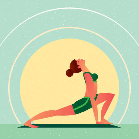 anahata: Sporty girl standing in the Yoga Open Heart Chakra Hand Bound Warrior Pose or Anahata Chakra Baddha Hasta Virabhadrasana, in flat cartoon style. Side view