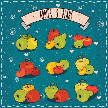 Set of colorful clip art of fruit groups, apples and pears of different sizes, shapes and colors. Hand drawn in comic style. Lettering on ribbon