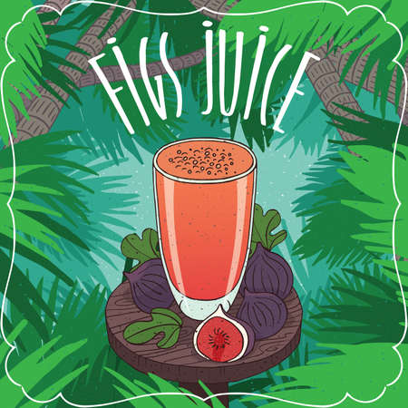 Fresh fig fruit juice in transparent glass on wooden table with ripe fruits, whole and slices. Tropical background. Realistic hand draw style. Lettering Figs Juice