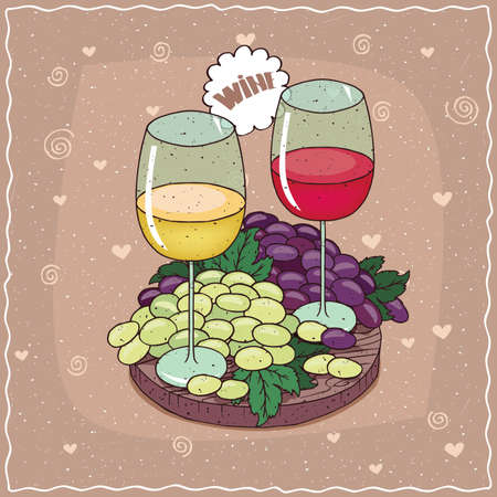 Romantic composition on wooden board, large glasses of red and white wine with bunch of black and white grapes. Lettering Wine. Hand drawn comic style Illustration