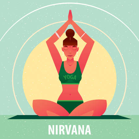 Sporty girl sitting in the Accomplished Pose or Siddhasana, against the background of the sun, in flat cartoon style. Yoga or Pilates concept. Front view Illustration
