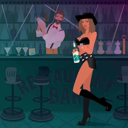 Attractive woman in sexy outfit with shots on her belt, offers alcoholic drink. Fashionable bartender prepares cocktail. Work tequila girl in the bar concept Illustration