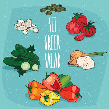 cross: Isolated food products to create Greek salad on recipe, olives, tomato, onion, bell pepper, cucumber, feta cheese. Realistic hand draw style. Lettering Set greek salad