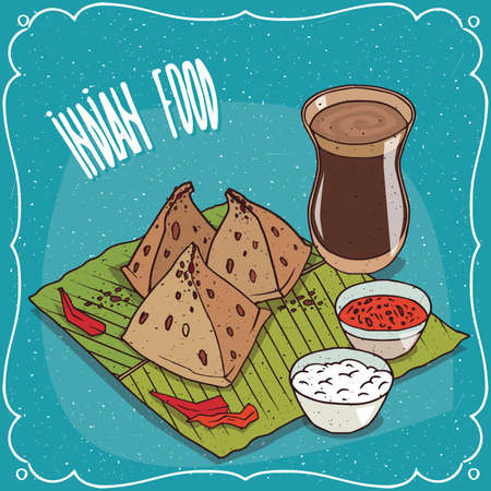 chutney: Traditional pastry, food of Indian cuisine, snack known as Samosa with sauce and curd cheese, on banana leaf plate and masala chai tea. Hand drawn comic style