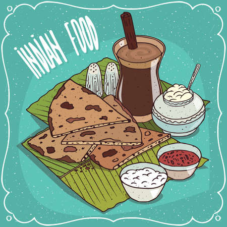 Traditional food, dish of Indian cuisine, pieces of flatbread with sauces like chutney and curd cheese, on banana leaf plate and masala chai tea. Hand drawn comic style