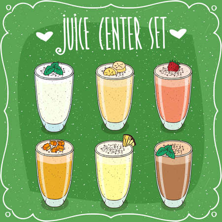 Set of isolated cliparts, different fresh juices with pieces of tropical fruits, in transparent glasses. Realistic hand draw style. Lettering Juice Center Set