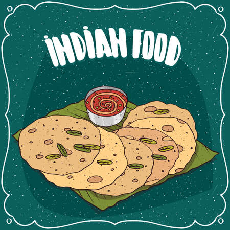 Traditional food, dish of Indian cuisine, round flatbread, known as Roti, Chapati or Paratha, lying on banana leaf plate with sauce like chutney. Hand drawn comic style