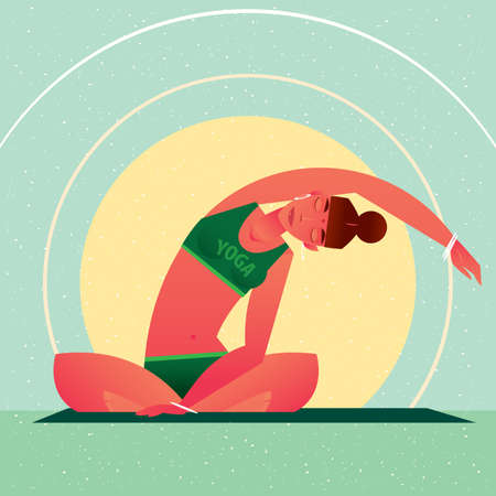 Sporty girl sitting in the Lotus Pose or Padmasana and tilts left, against the background of the sun, in flat cartoon style. Yoga or Pilates concept. Front view