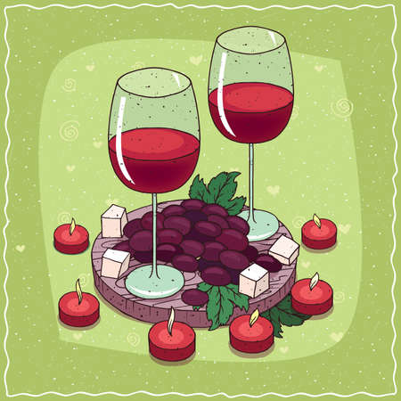 Romantic composition on wooden board, large glasses of red wine with bunch of black grapes and pieces of cheese. Near red candles. Hand drawn comic style