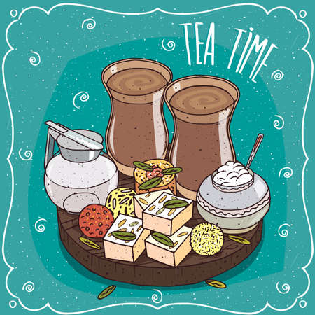 Traditional food, popular sweets of Asian cuisine, balls Laddu or Laddoo and rectangular Barfi or Burfi, on wooden plate and masala chai tea. Hand drawn comic style