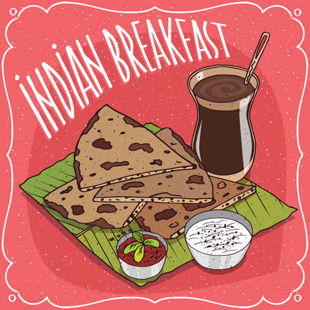 Traditional breakfast, food of Indian cuisine, pieces of flatbread with sauce and curd cheese, on banana leaf plate and masala chai tea. Hand drawn comic style