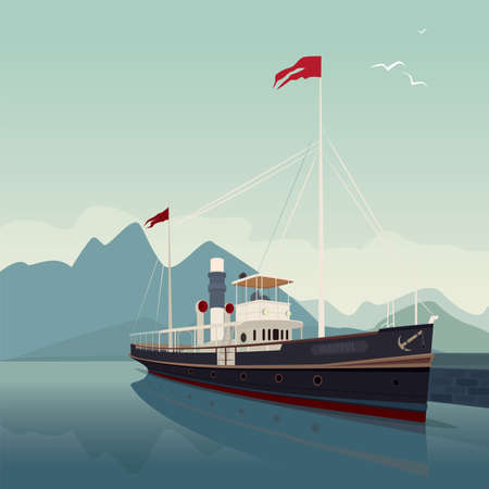 water reflection: Scenic area with old cruise ship in style of retro steamer, at pier, on clear day. In the background is natural mountain landscape. Realistic flat style. Square size