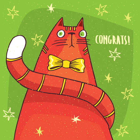 Funny red cat with big tail and an yellow bow on its neck sits in full face and looks ahead in surprise. Inscription with a congratulation. Hand drawn in comic style