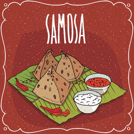 Traditional pastry, food of Indian cuisine, snack known as Samosa with sauce and curd cheese, on banana leaf plate. Lettering Samosa. Hand drawn comic style