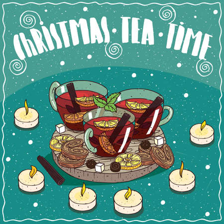Composition on wooden board, Christmas tea with cinnamon, spices and citrus, in transparent mugs. Near chocolate sweets and cookies. Hand drawn comic style