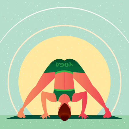 Sporty girl standing in the Wide Angle Standing Forward Bend or Prasarita Padottasana, in flat cartoon style. Yoga or Pilates concept. Front view