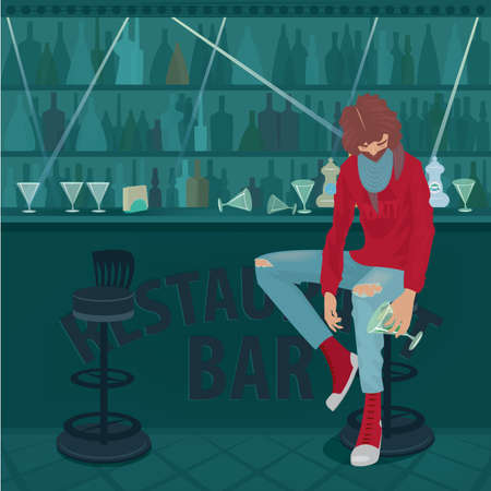 inebriated: Young fashionable guy got drunk and hardly sits in an empty bar, overturned glasses on a bar counter. Abuse of alcohol concept