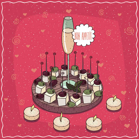 Romantic composition on wooden board, glass of champagne or cider in middle of plates with appetizers of cheese with black olives. Hand drawn still life in comic style