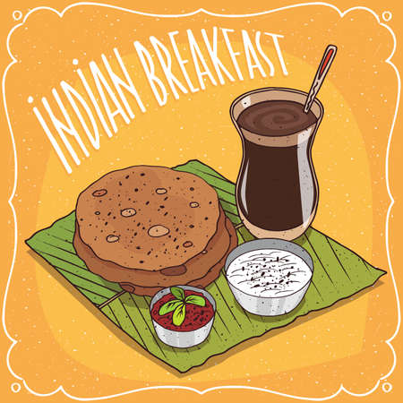 Traditional breakfast, food of Indian cuisine, round flatbread with spicy sauce and curd cheese, on banana leaf plate and masala chai tea. Hand drawn comic style Illustration