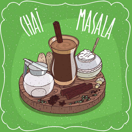 Traditional food of Indian cuisine, Masala chai like mixed spice tea, with sugar bowl and milk jug with lid and Indian spices, on wooden plate. Hand drawn comic style Illustration