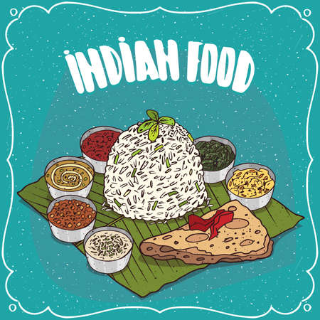 Traditional food, dish of Indian cuisine, serving white rice with seasoning sauces like chutney and pieces of flatbread, on banana leaf plate. Hand drawn comic style