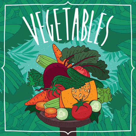 cross: Big pile of different, nicely cut fruits, root vegetables and plants, lies on wooden table. Natural background. Realistic hand draw style. Lettering Vegetables